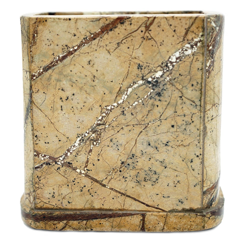 Brown Forest Marble Bathroom Tumbler - 3 x 2.25 x 4 inches - Jodhpuri Online