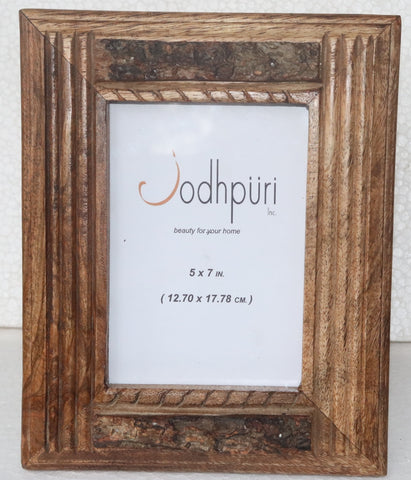 Wooden Picture Frame with Upper and Lower Bark Trim - 4 x 6 inches - Jodhshop