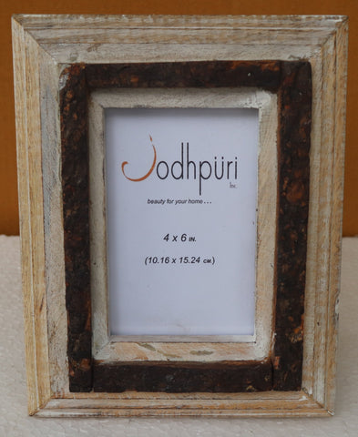 Wooden Picture Frame with Center Bark Trim - 5 x 7 inches - Jodhshop