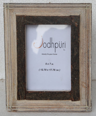 Wooden Picture Frame with Inner Bark Edge - 5 x 7 inches - Jodhshop