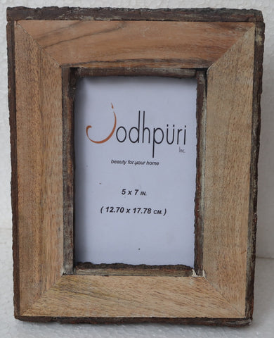 Wooden Picture Frame with Inner and Outer Bark Edge - 5 x 7 inches - Jodhshop