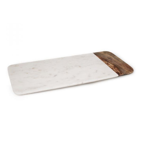 White Marble and Wood Cheese Board - 18 x 9 inches