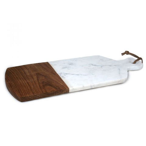 White Marble and Wood Cheese Board with Rope - 17 x 7 inches