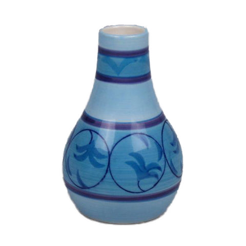 Blue Ceramic Vase with Design - 2.75 x 4.5 inches - Jodhshop