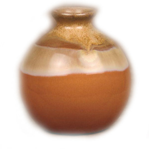 Orange and Brown Reactive Glaze Vase - 4 x 4 inches - Jodhshop