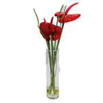 Red Anthurium Artificial Plant in Tall Vase - Jodhshop