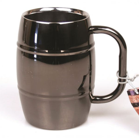 Stainless Steel Beer Barrel Mug with Black Finish - 16 oz - Jodhpuri Online