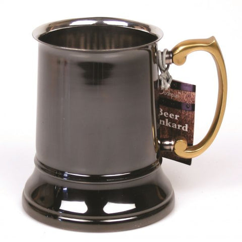 Stainless Steel Beer Tankard with Black Finish - 16 oz - Jodhshop