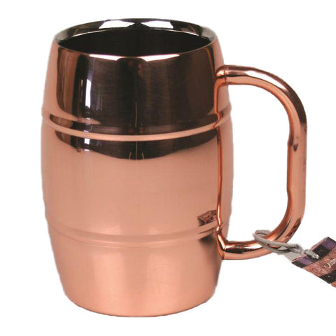 Stainless Steel Beer Barrel Mugs with Copper Finish - 16 oz - Jodhshop