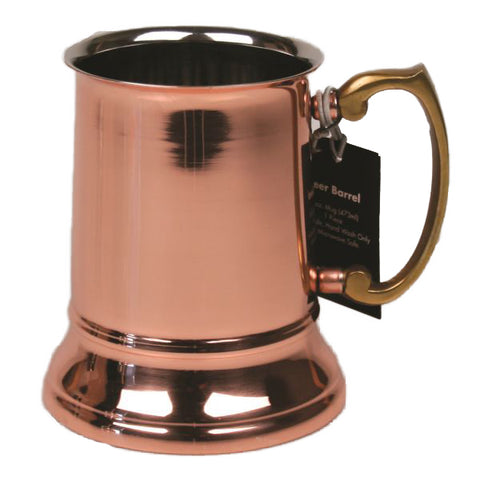 Stainless Steel Beer Tankard with Copper Finish - 16 oz - Jodhshop