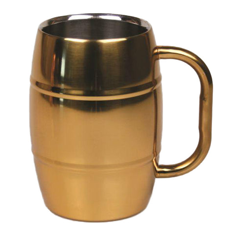Stainless Steel Beer Barrel Mug with Gold Finish - 16 oz - Jodhpuri Online