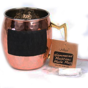 Hammered Stainless Steel Moscow Mule Chalk Mug with Copper Finish - 16 oz - Jodhpuri Online