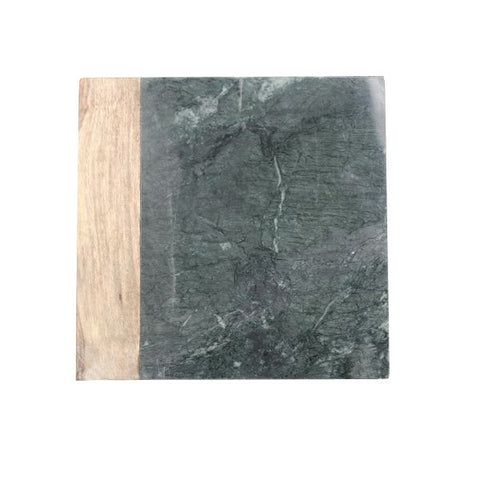 Green Marble and Wood Cheese Board - 10 x 10 inches - Jodhshop