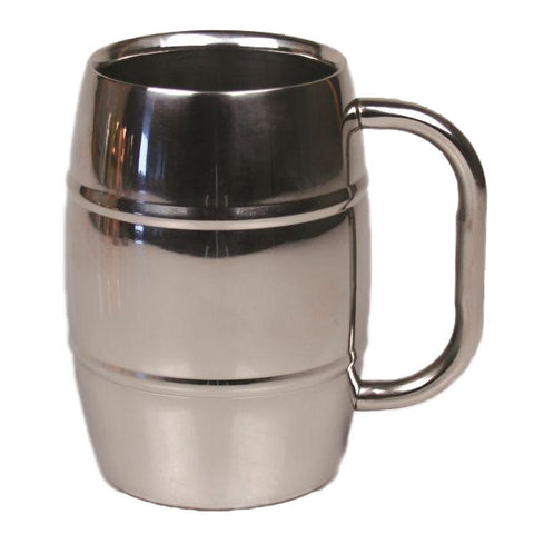 Stainless Steel Beer Barrel Mug with Shiny Finish - 16 oz - Jodhpuri Online