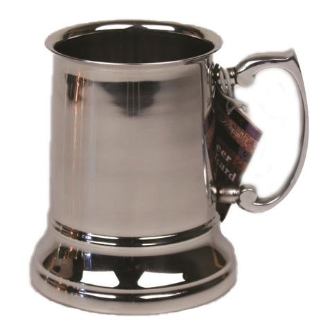 Stainless Steel Beer Tankard with Shiny Finish - 16 oz - Jodhpuri Online