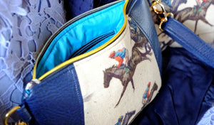 Faux Leather Horse Racing Clutch Handbag