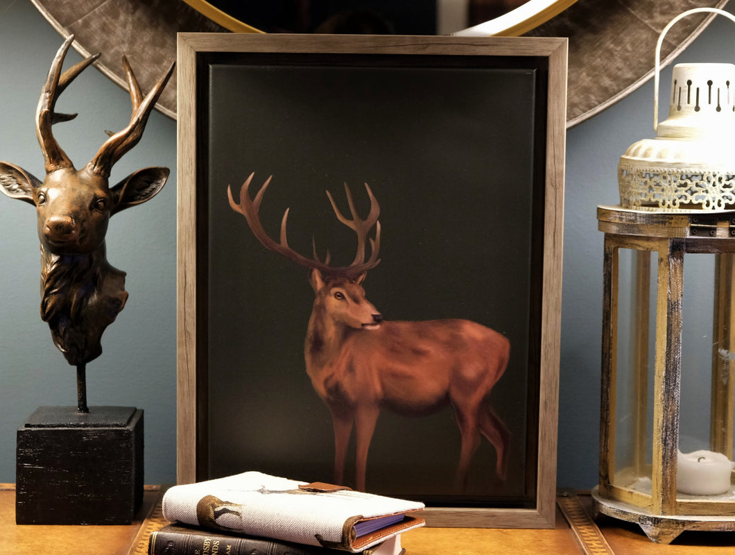 Olive Green Stag Framed Picture.
