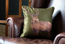 Load image into Gallery viewer, Olive Green Stag Cushion.