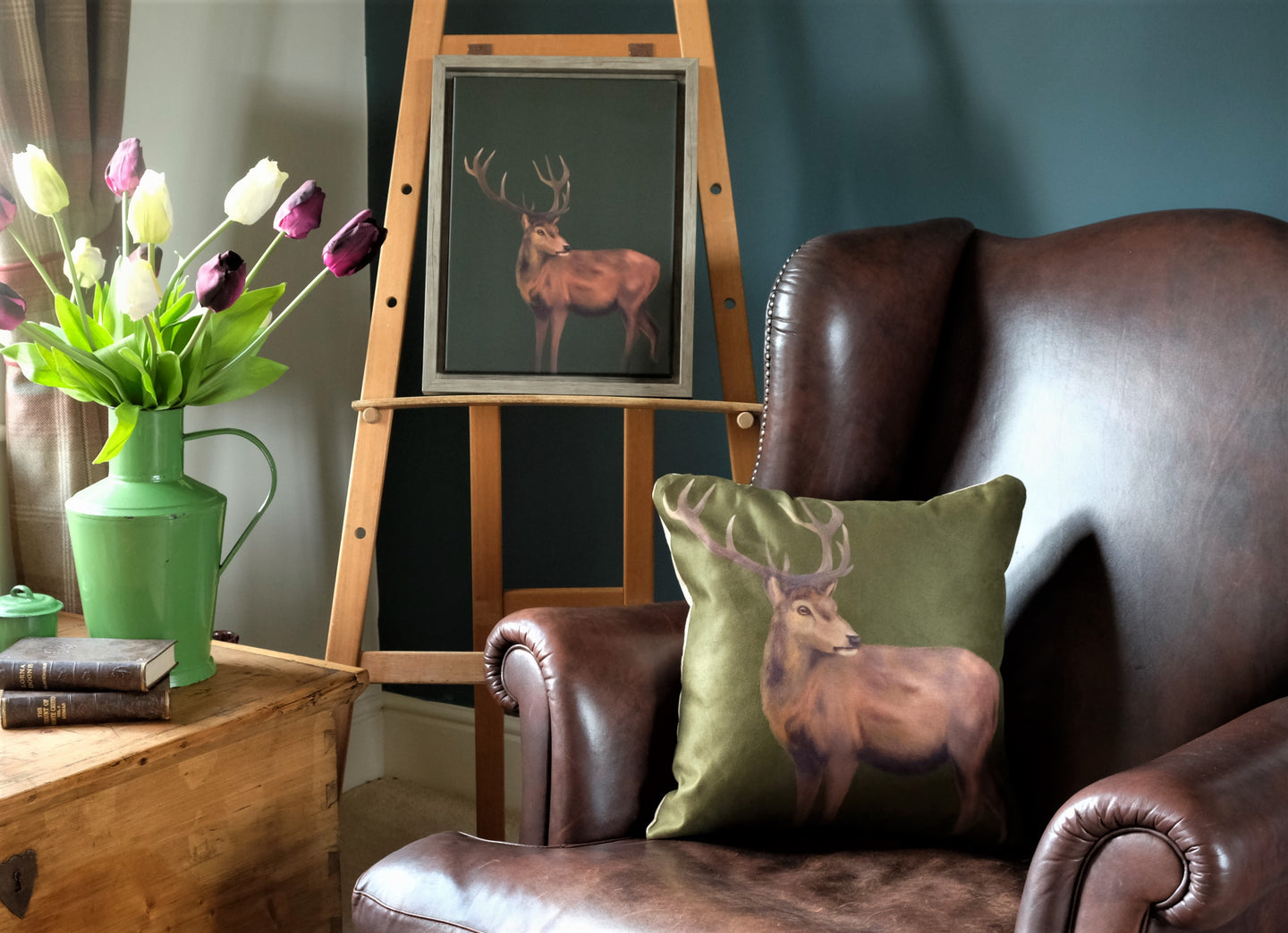 Olive Green Stag Cushion.