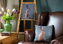Load image into Gallery viewer, Blue Smoke Hare Cushion