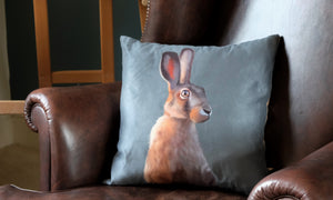 Blue Smoke Hare Cushion