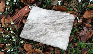 Grey & Tan Leather Cowhide Clutch Bag