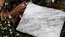 Load image into Gallery viewer, Grey & Tan Leather Cowhide Clutch Bag