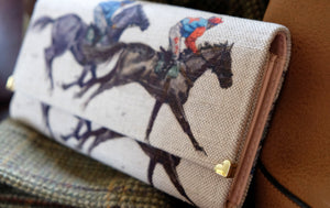 Horse racing Leather Handmade Purse