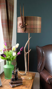 Oak base Large Antler Table Lamp