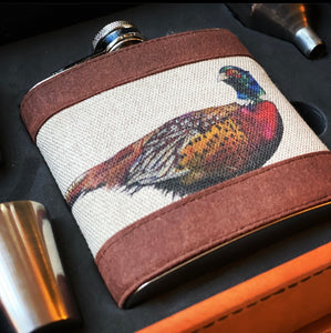 Pheasant Hip Flask Set In Case