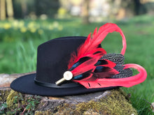 Load image into Gallery viewer, Black Fedora Hat & Brooch