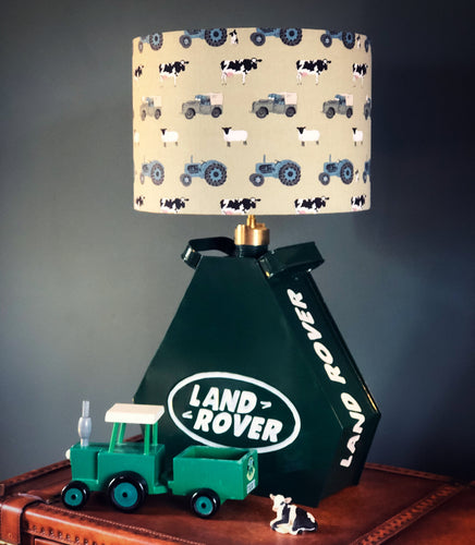 Triangular Land Rover Oil Can Lamp & Shade