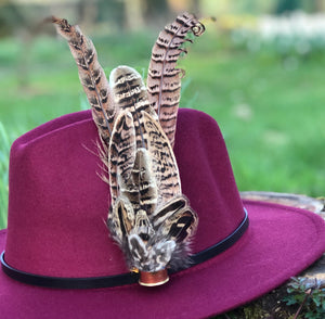 Burgundy Fedora Hat & Brooch.