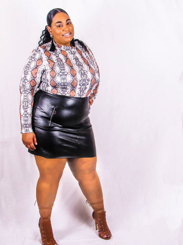Zippy Faux Leather Skirt