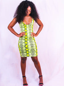 Lemon Lime Snakeskin Dress