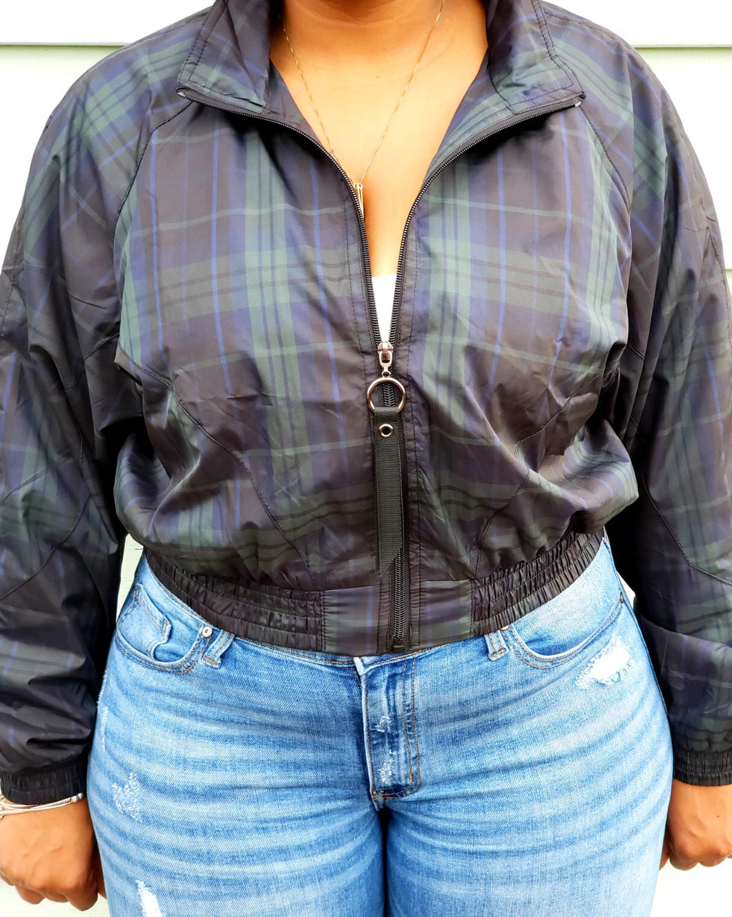 Plaid Crop Bomber Jacket