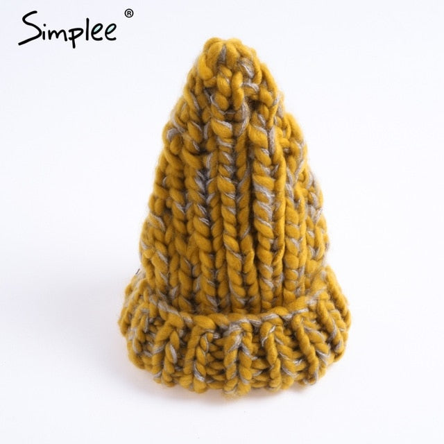 ... Simplee knitting wool hats 2018 pompon Bobble hats women skullies  beanies Warm hat autumn cap winter ... 791e71a3f310