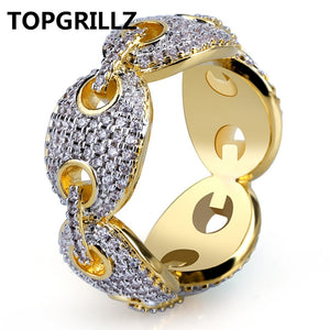 925e4abbb TOPGRILLZ Hip Hop New Design Iced Out Chain Link Ring Micro Pave AAA Zircon  Gold Color