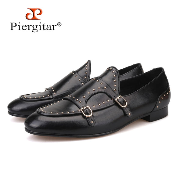 92913bee15b Piergitar brand 2019 Handmade spikes genuine leather men loafers Fashion  party and wedding Men dress shoes