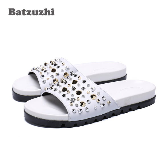 f592c9f08579b 2019 Men Sandal Shoes Genuine Leather Sandals Shoes Beach Gladiator Rivets  Slippers Flats Casual Summer Shoes