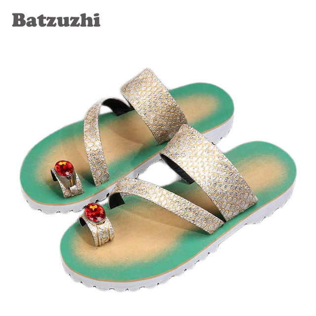 3bc7384db6 2018 New Men Summer Sandals Leather Beach Shoes Men Casual Mens Slippers  2018 Gold Silver Flip Flops Open Toe with Big Crystals