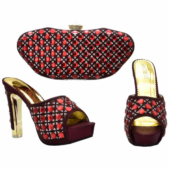 00687441a7e 4.7 inches slippers lady with clutches bag set elegant wine red italian  shoes and bag matching