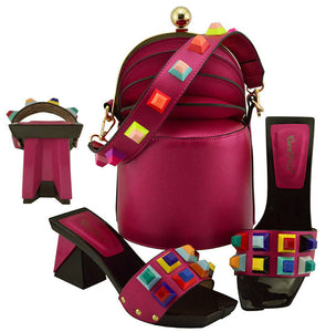 576fdd47ec90 Magenta shoe and bag matching set in italy design newest fashion specail italian  shoes and bag
