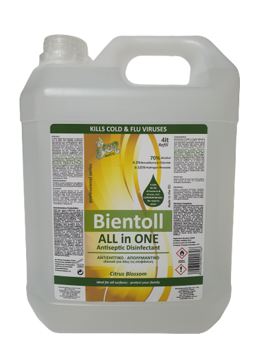 Bientoll All in One Antiseptic Disinfectant for Surfaces - Citrus Blossom 4lt