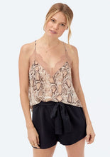 Load image into Gallery viewer, Lovestitch Snake Print Lace Trim Cami