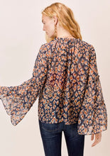 Load image into Gallery viewer, Lovestitch Top with Bell Sleeve Tie Neck and Ruffle