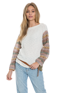 Dylan Burnout Waffle Crewneck with Crochet sleeve