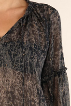 Load image into Gallery viewer, Lovestitch Printed Bell Sleeve Tie Neck Top with Ruffle