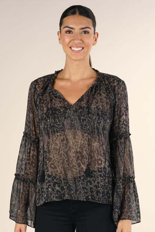 Lovestitch Printed Bell Sleeve Tie Neck Top with Ruffle