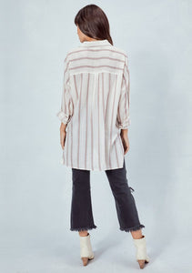 Lovestitch Yarn Dyed Stripe Shirt in Natural Rose